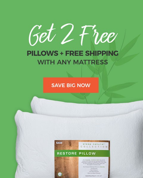 Sleep Natural 2 Free Pillows + Free Shipping with Any Mattress Purchase
